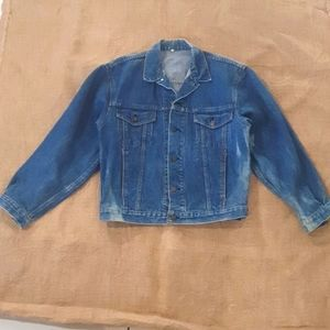 Size 12 14 Denim Jacket 80s retro